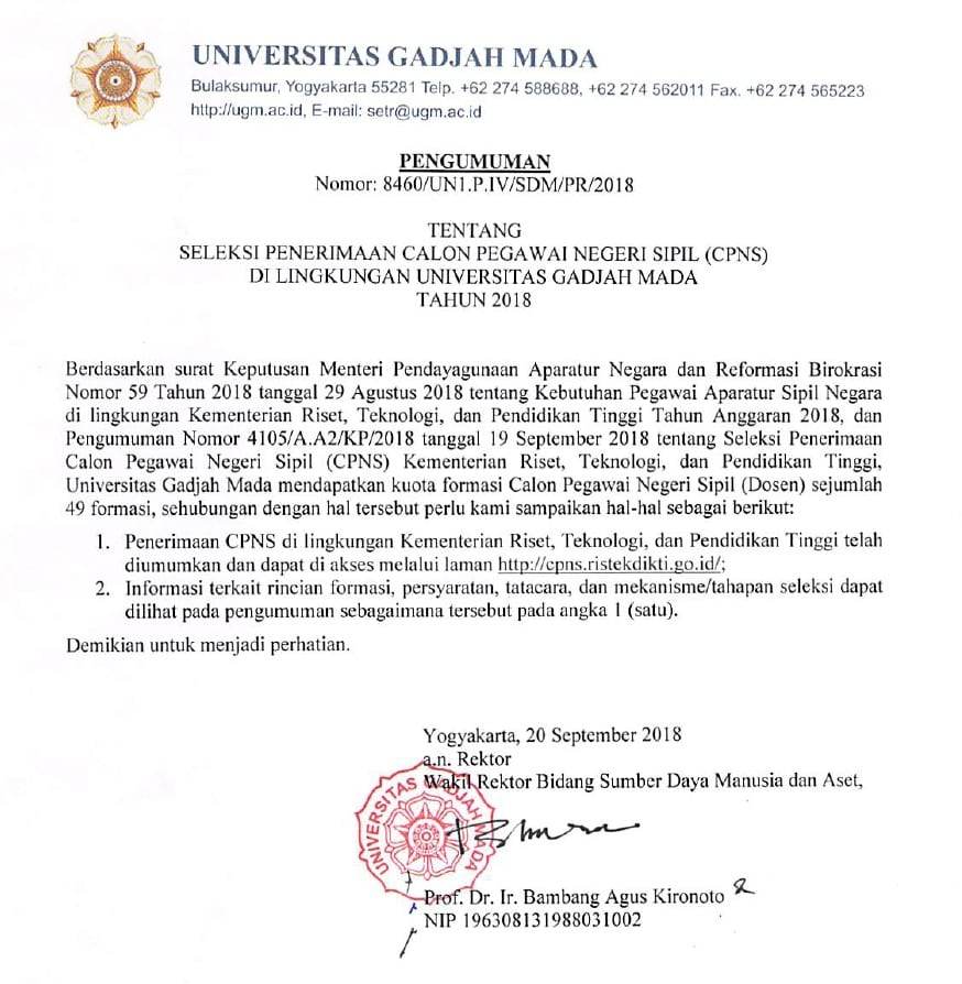 Seleksi Cpns Di Lingkungan Universitas Gadjah Mada