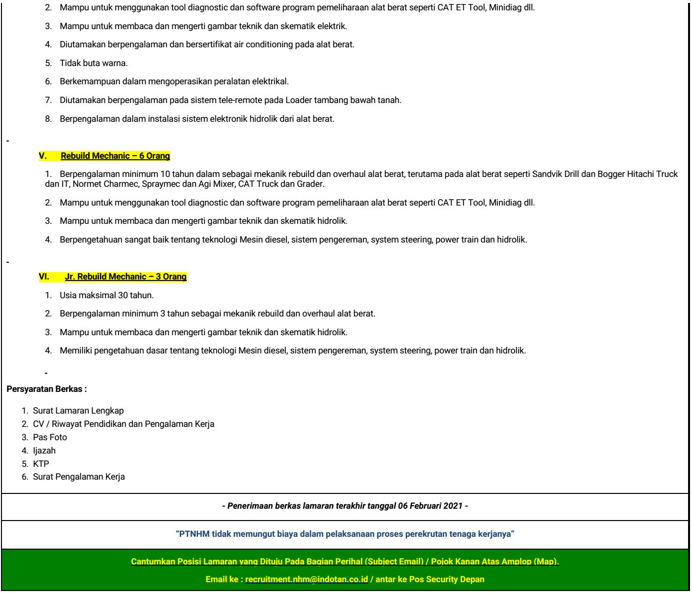Lowongan Pt Nusa Halmahera Minerals Pt Nhm Departemen Teknik Mesin Sekolah Vokasi